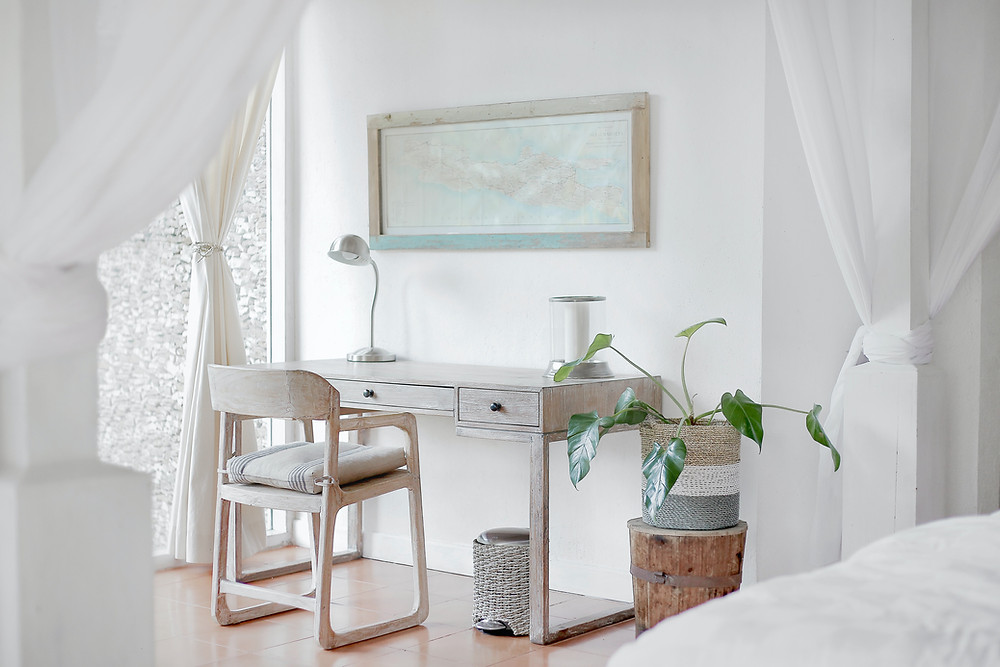 Work From Home Desk with Green Plant