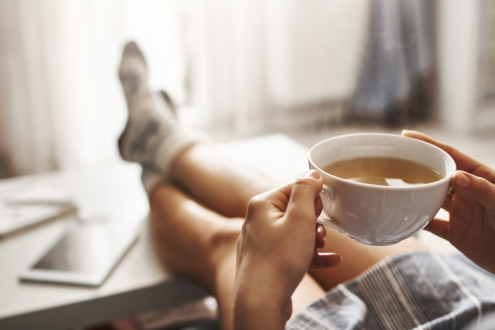 Relaxing with tea