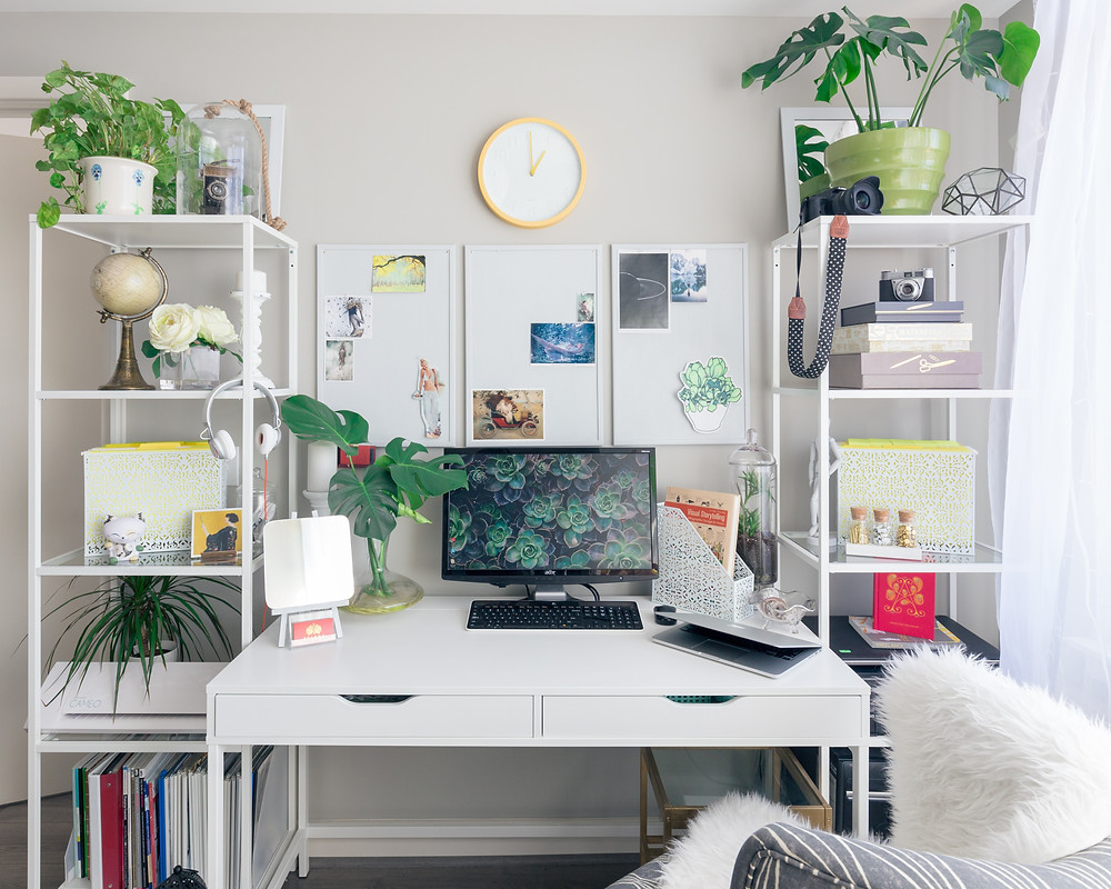 Home Office with many green plants to help with productivity