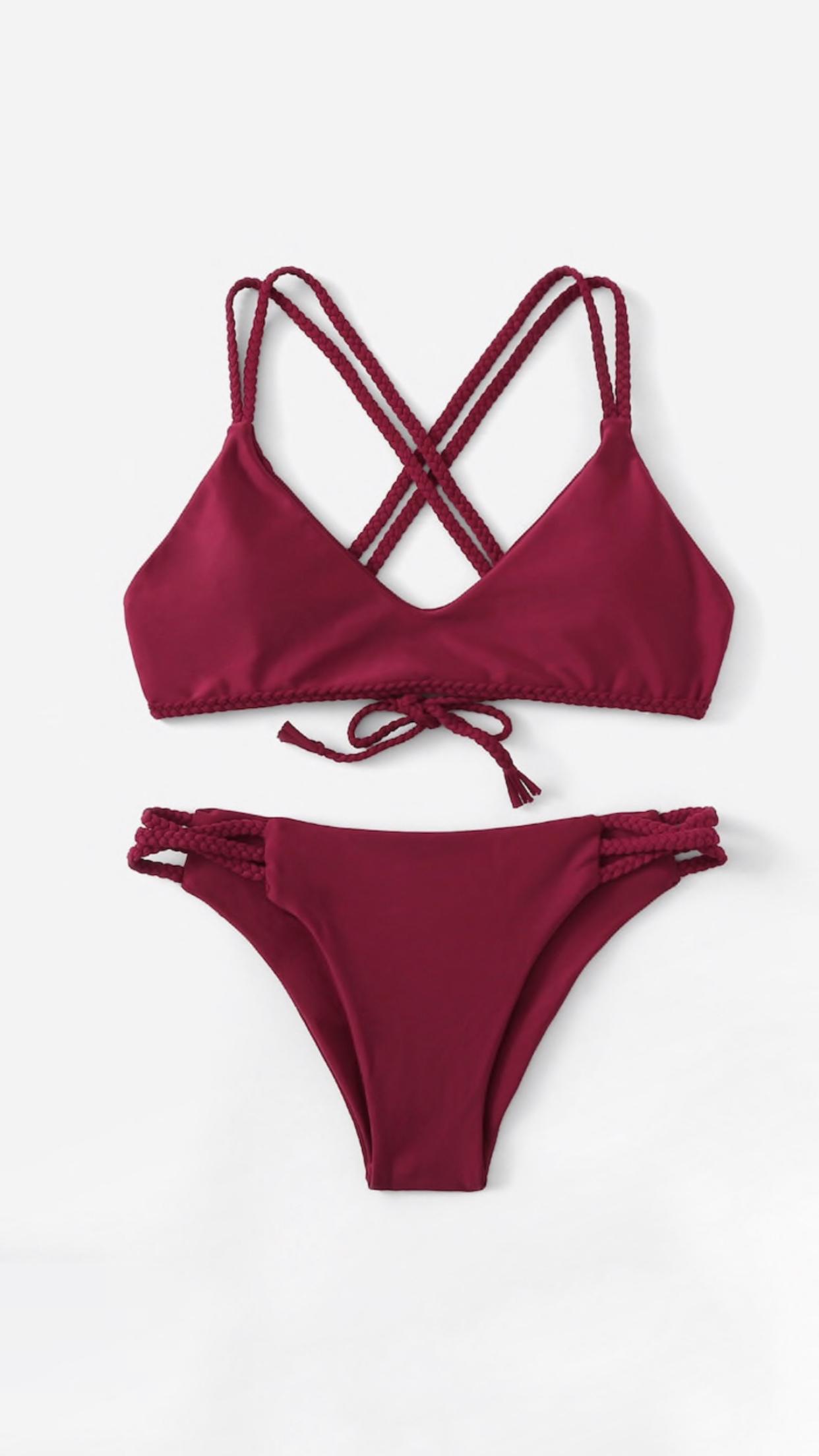 Bikini rojo cintas