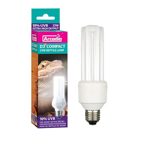 Arcadia D3 Compact Bulb is a screw fit, D3 10% UVB Compact lamp in 23 Watts.