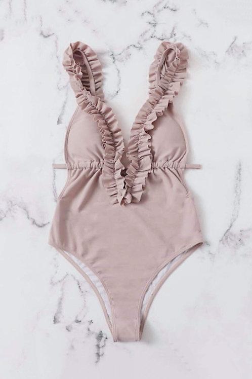 Bañador rosa con fruncido