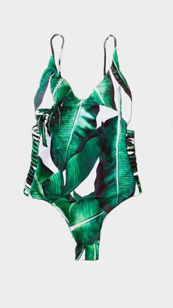 Bañador con hojas verdes