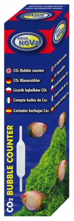 Glass bubble counter co2, 120mmx17mm. 2 suction cups included