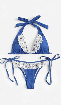 Bikini azul con encaje