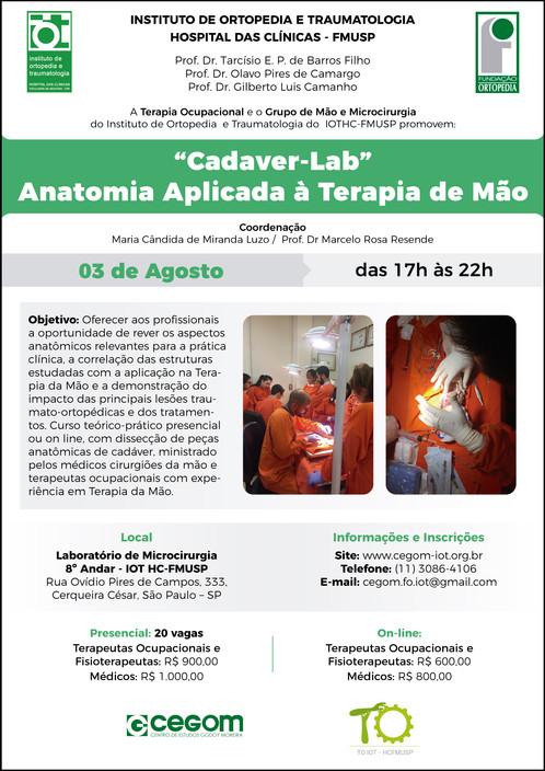 03 de Agosto - Cadáver Lab - Anatomia Aplicada á Terapia de mão