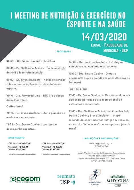 14 de março - I Meeting de nutrição