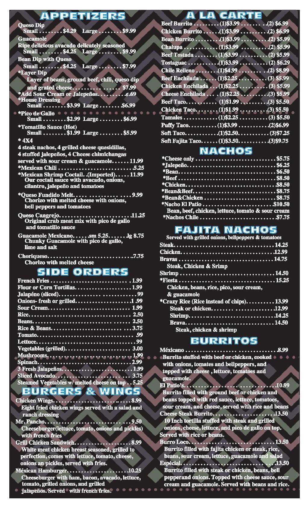 El Patio Shreveport menu pg 2 2020 OUTLI