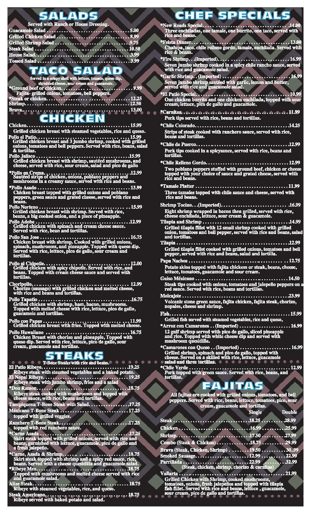 El Patio Shreveport menu pg 5 2020 OUTLI