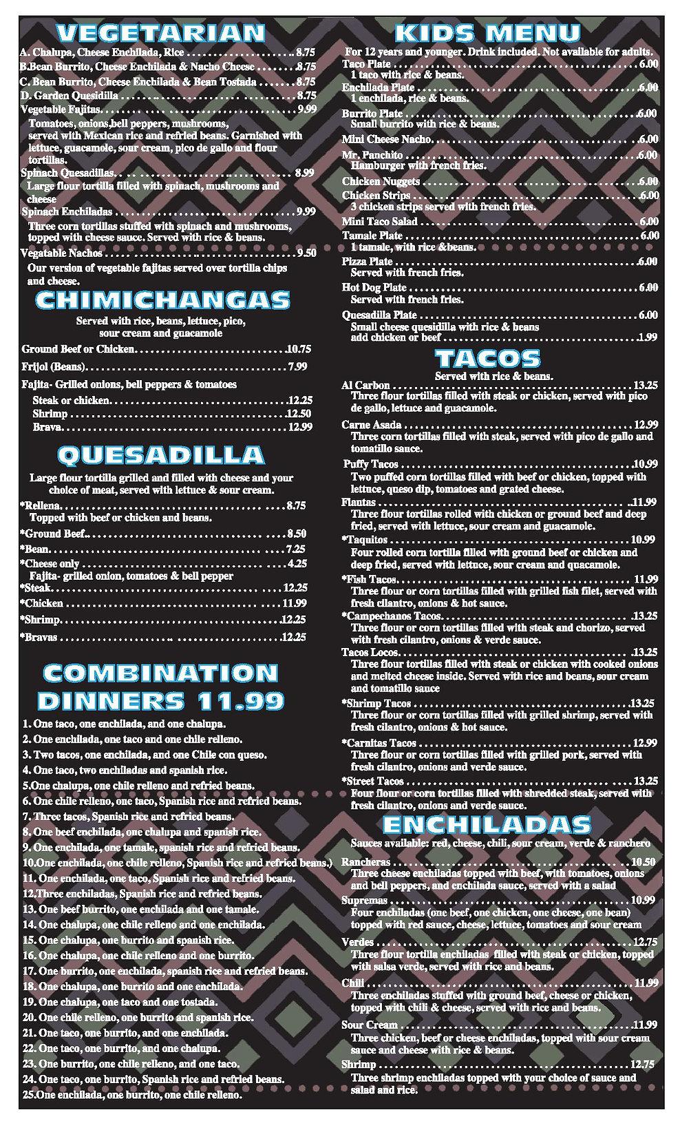 El Patio Shreveport menu pg 4 2020 OUTLI