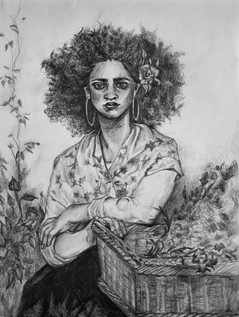 Sketch of a Woman, inspired by a William Bougeaureau painting. Pencil on paper.