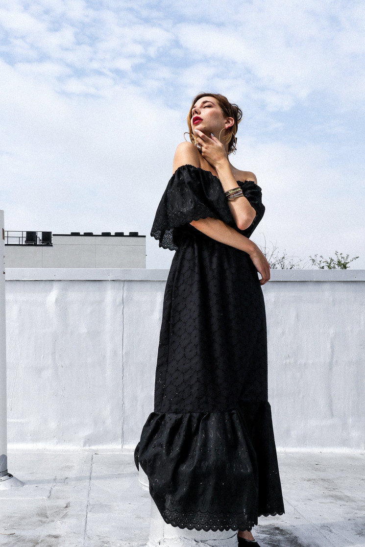Black Eyelet Ruffle Maxi Dress