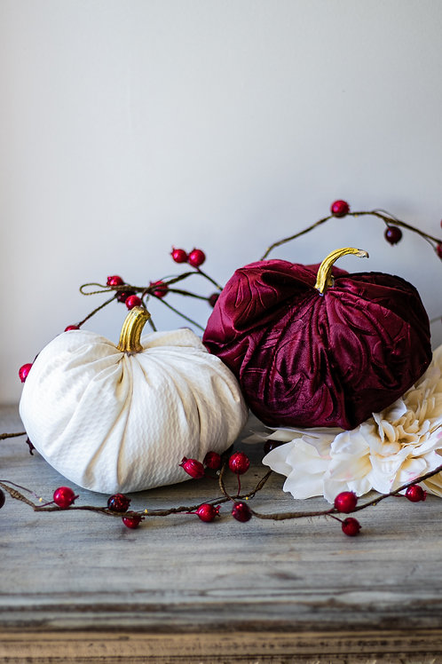 Pair of Fabric Pumpkins filled with 100% Organic Cotton