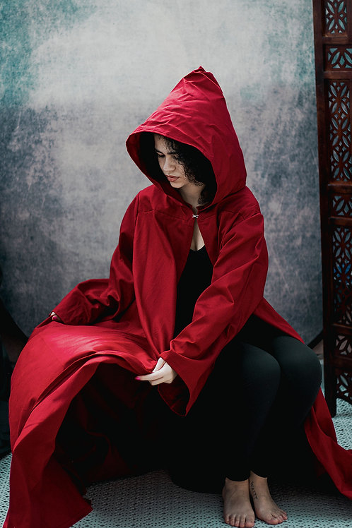 Organic Cotton Hooded Cloak - Red