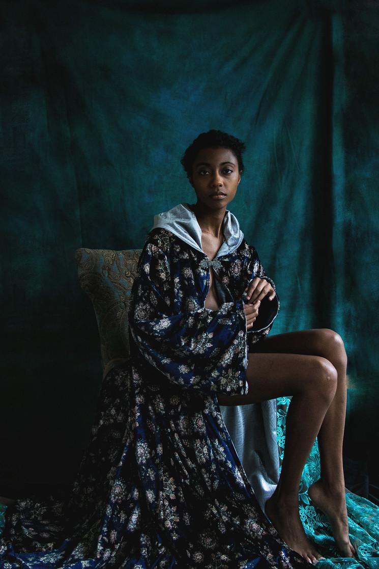 Velvet Navy Print Cloak with Sleeves