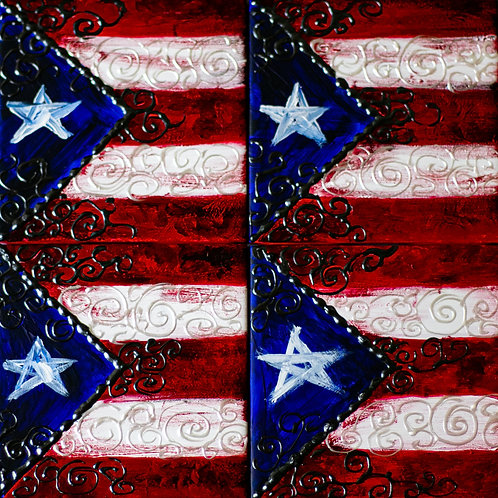 Set of Four Tile Coasters - Puerto Rican Flag