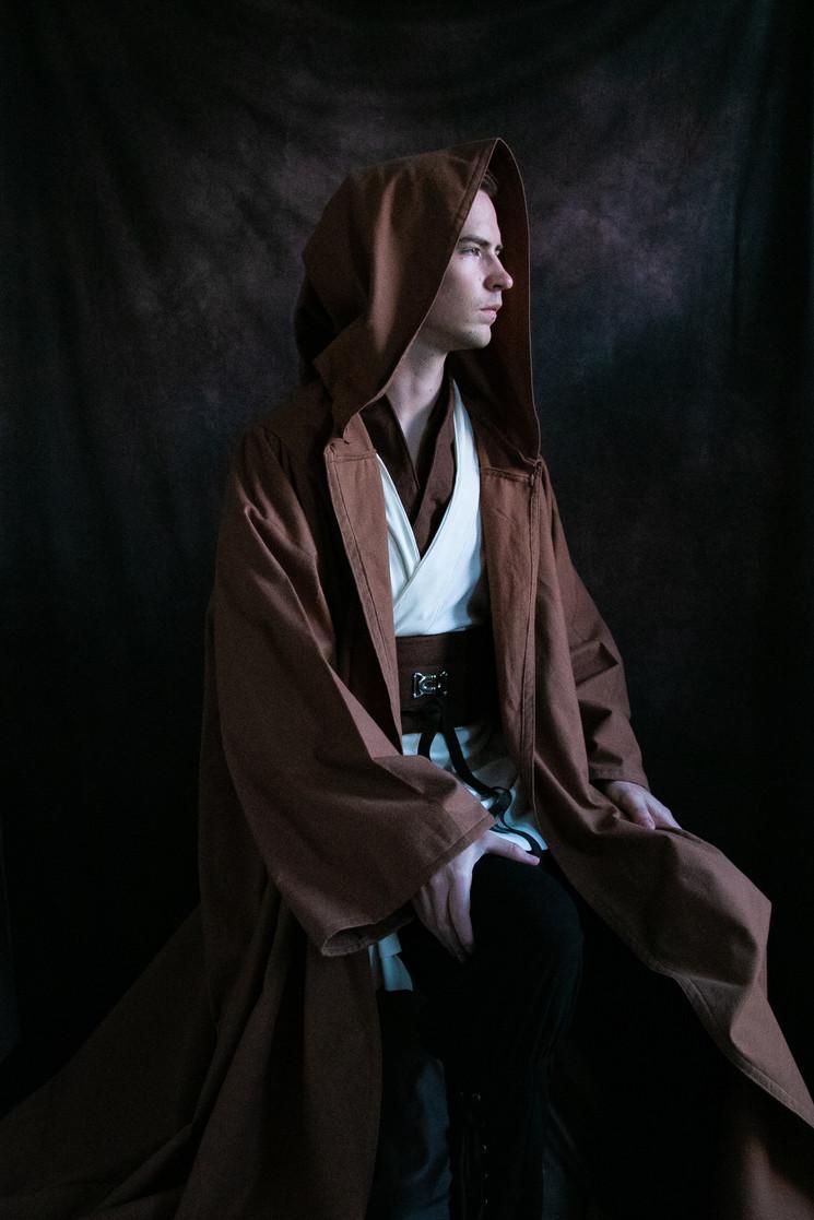 Jedi Cosplay - Flannel Hooded Cloak, Tunic, Belt, Dickie