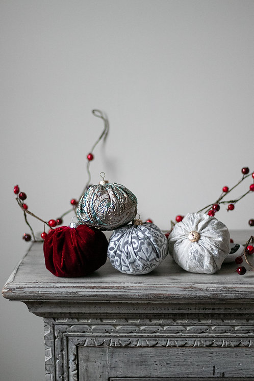 Fabric Ornaments filled with 100% Organic Cotton - Set of 4