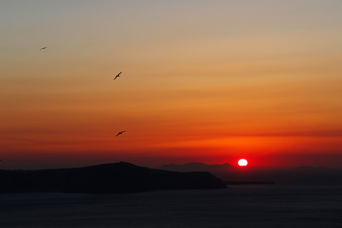 "8""x 10"" Pearl Photographic Print - Santorini, Greece Sunset"