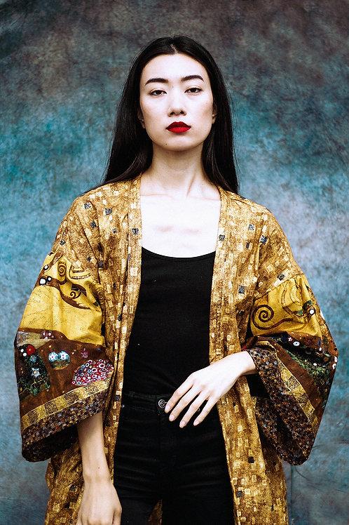 Klimt-Inspired Wide-Sleeve Kimono