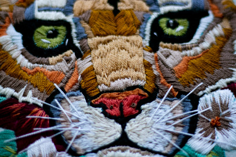 Cougar Embroidery. Cotton string on fabric.