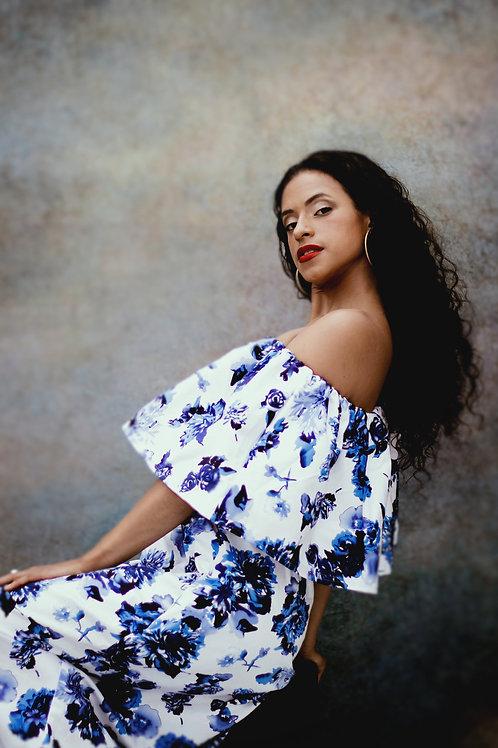 Blue Floral Print Ruffle Maxi Dress