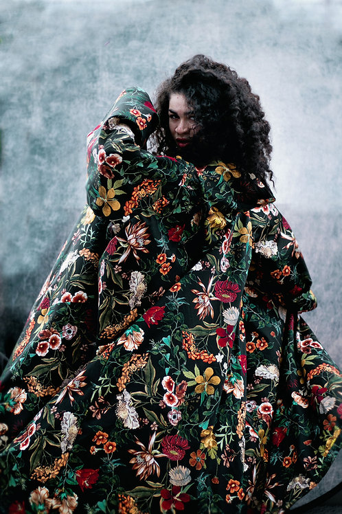Floral Print Hooded Cloak