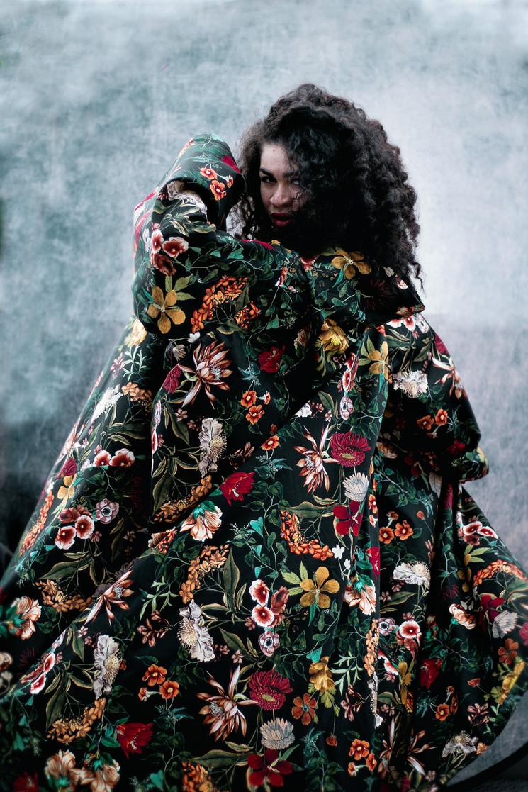 Hooded Cloak in Black Floral Print