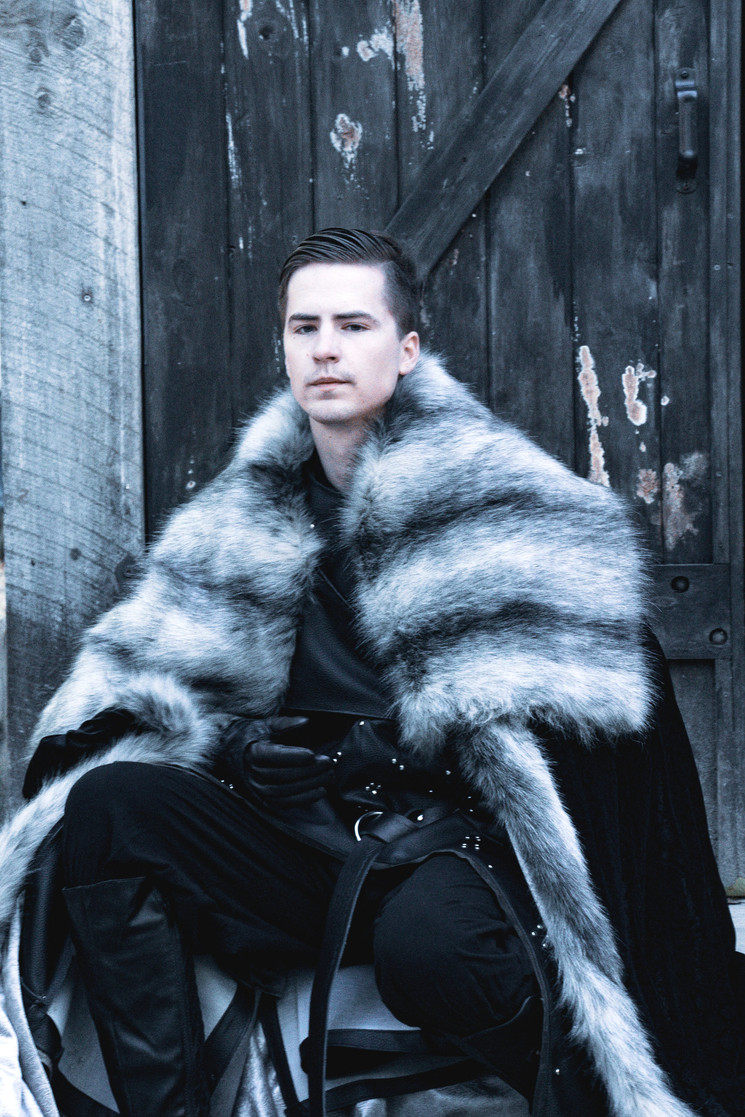 Jon Snow Cosplay - Faux Fur Cape, Studded Faux Leather Armor Tunic, Studded Gauntlets