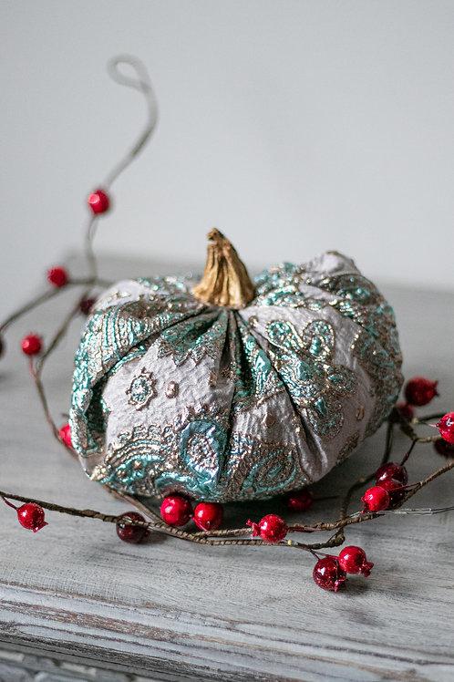Luxury Paisley Metallic Brocade Pumpkin - Filled with 100% Organic Cotton