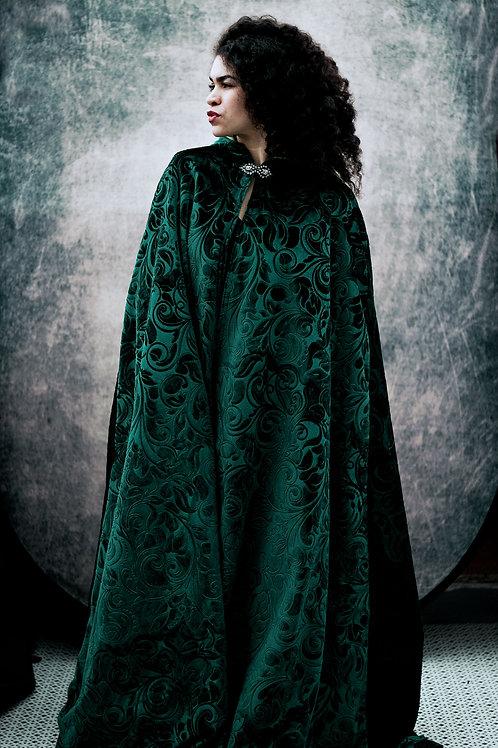Emerald Green Embossed Velvet Hooded Cape