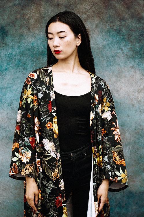Wide-Sleeve Kimono in Black Floral Print