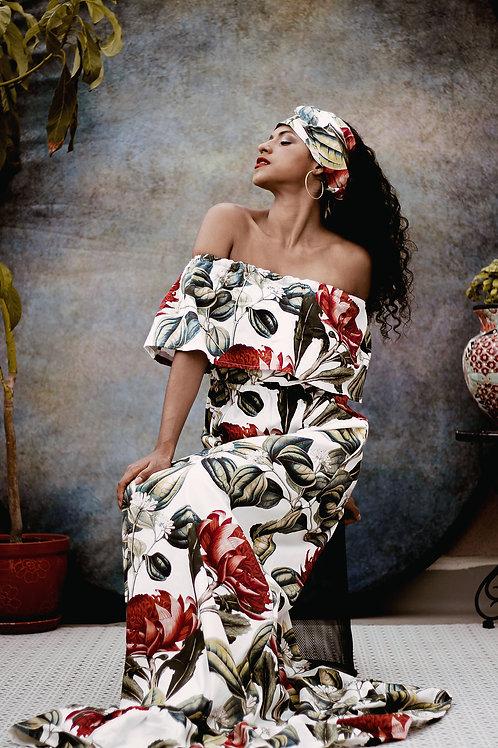 Floral Print Ruffle Maxi Dress