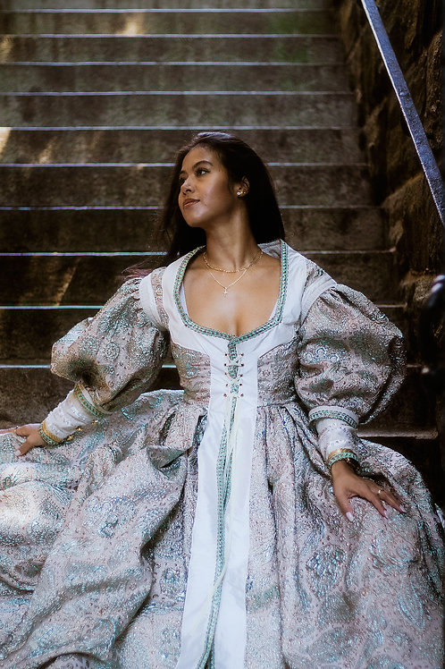Renaissance-Inspired Lace-up Gown in Teal and Blush Brocade - Size 4/6