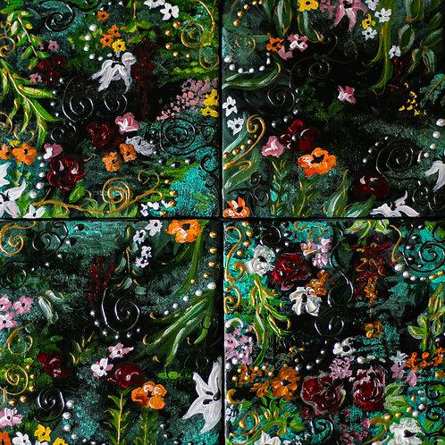 Set of Four Tile Coasters -Black Floral Design