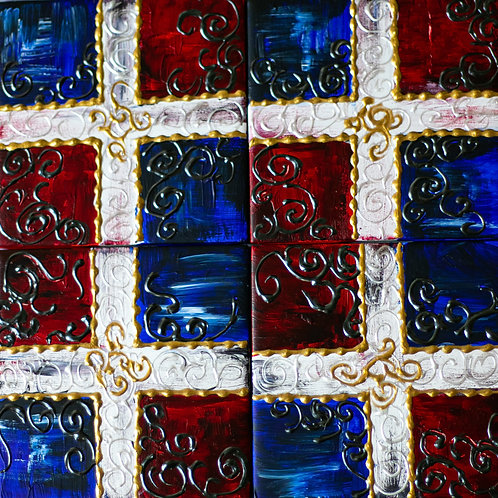 Set of Four Tile Coasters - Dominican Flag