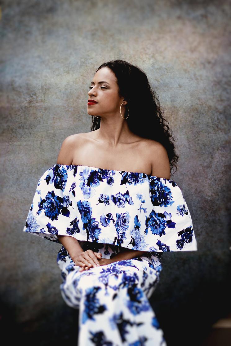 Ruffle Maxi Dress in Blue Floral Print