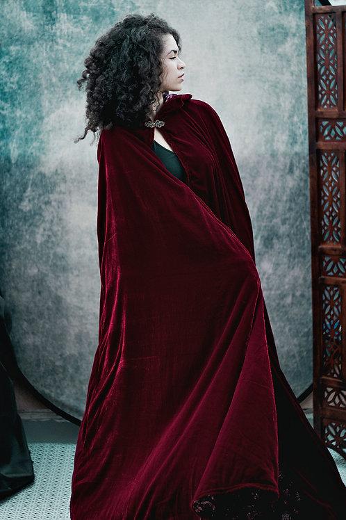Crimson Velvet Hooded Cape
