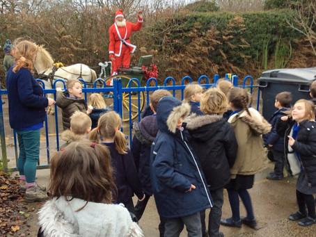 Santa makes a surprise stop at the school!