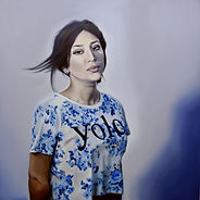 sapir gal, Self portrait with sapphire earing, oil painting, YOLO,