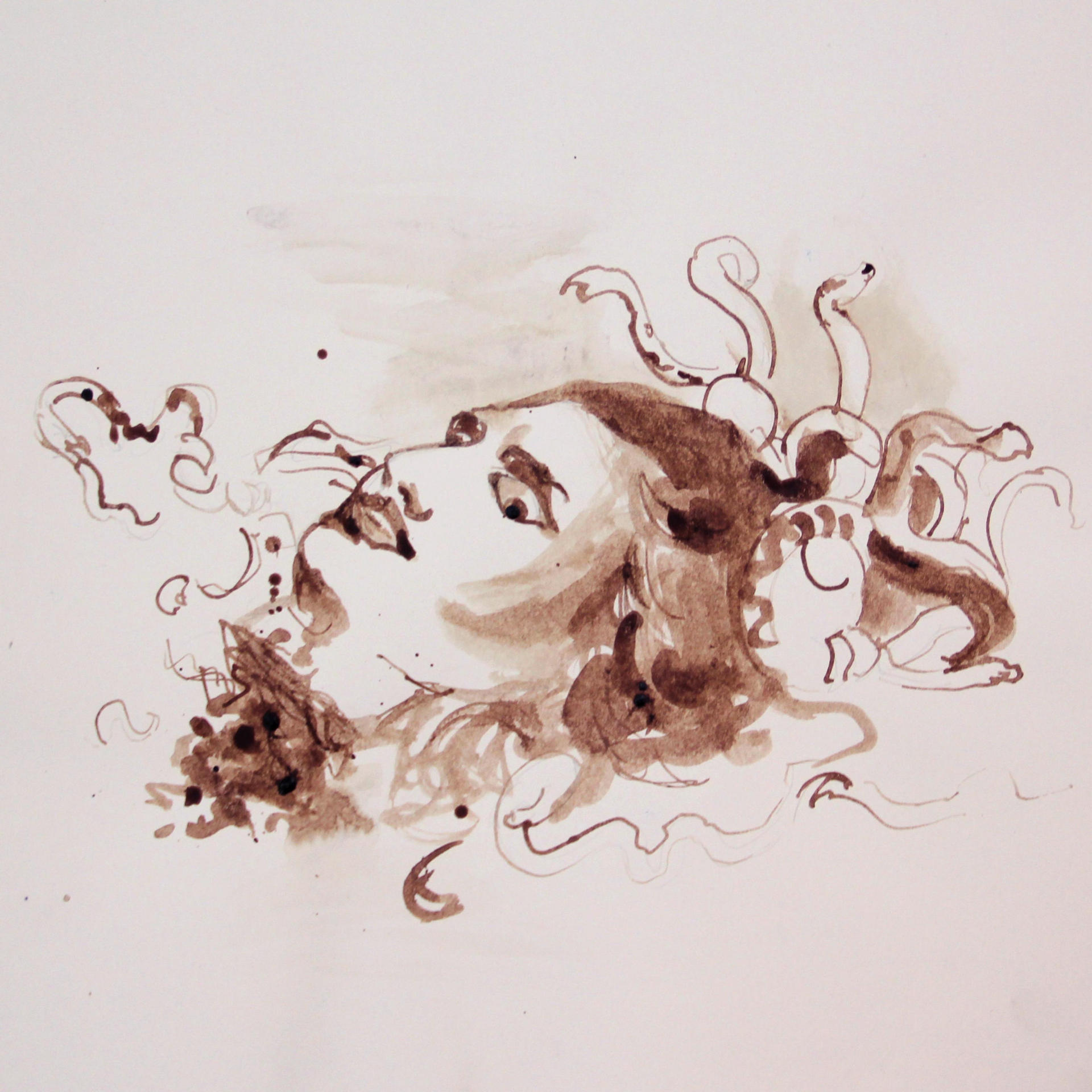 Sapir Gal ספיר גל, drawing, The Head of Medusa, blood