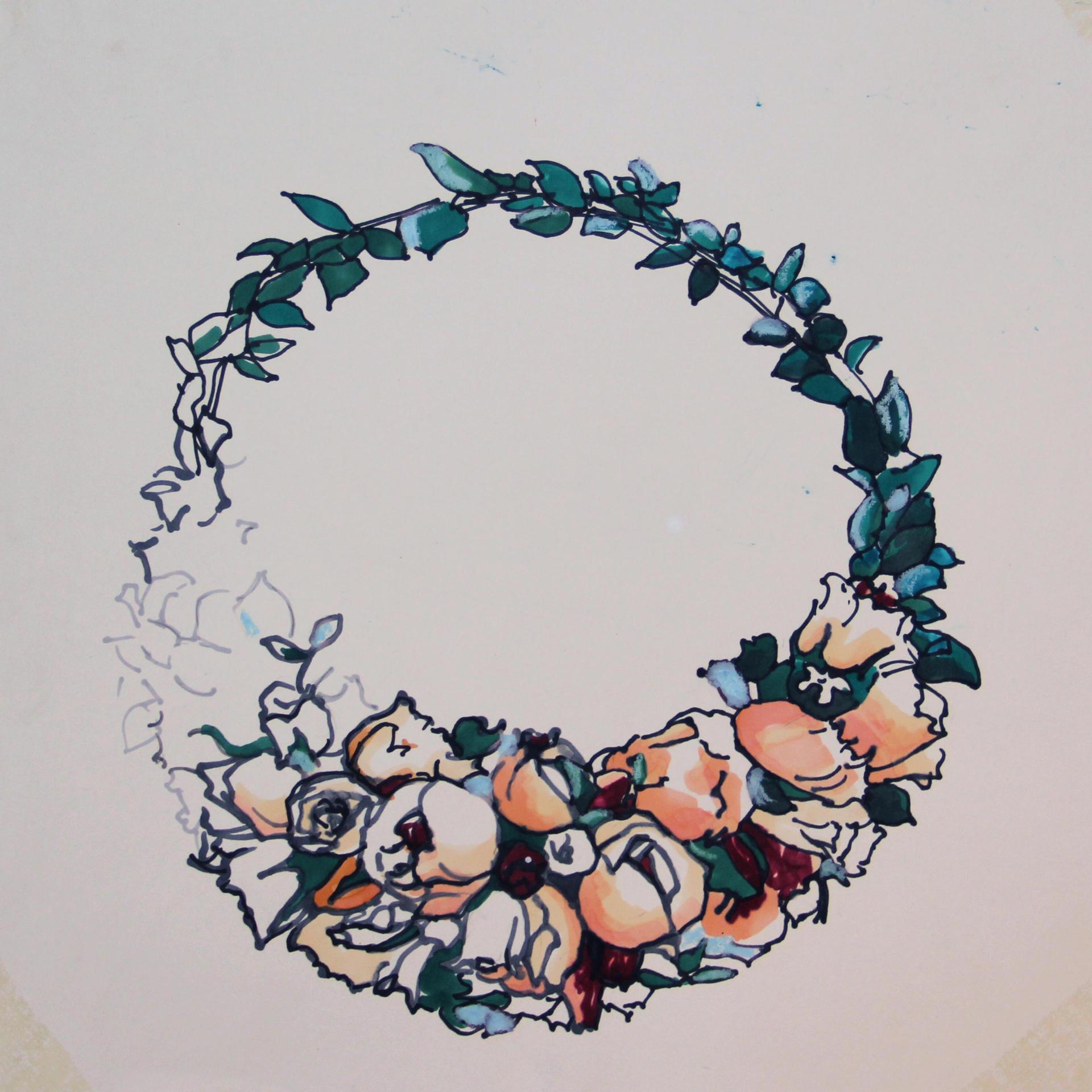 Sapir Gal ספיר גל, Flower Tiara Crown, drawing, Marker