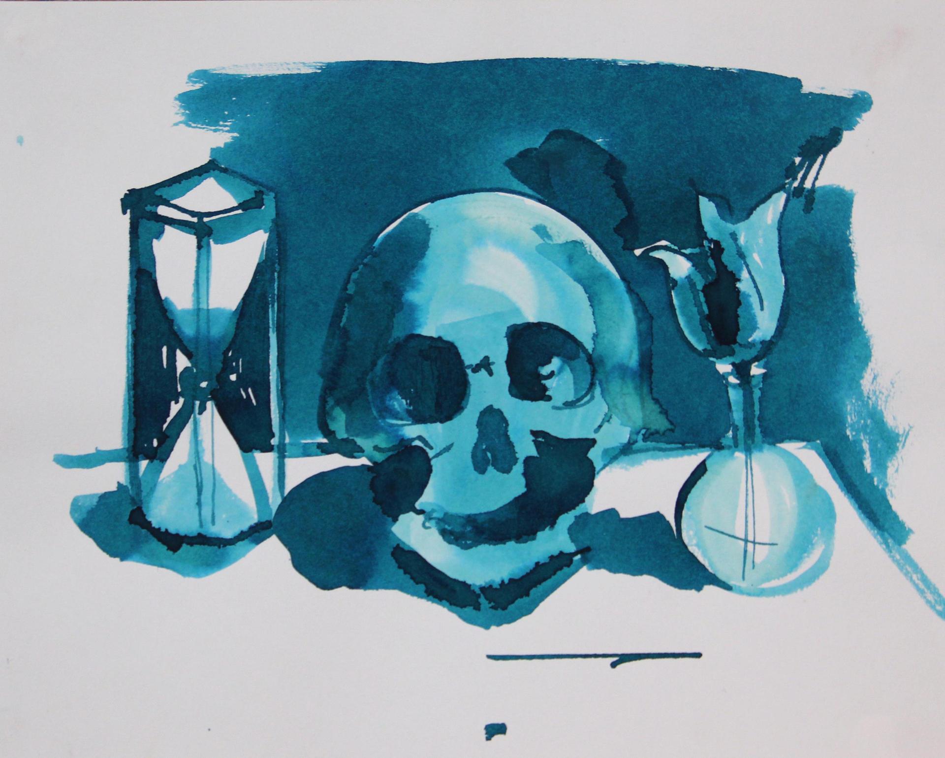 Sapir Gal ספיר גל, Skull, Flower, SandClock,drawing, Watercolor