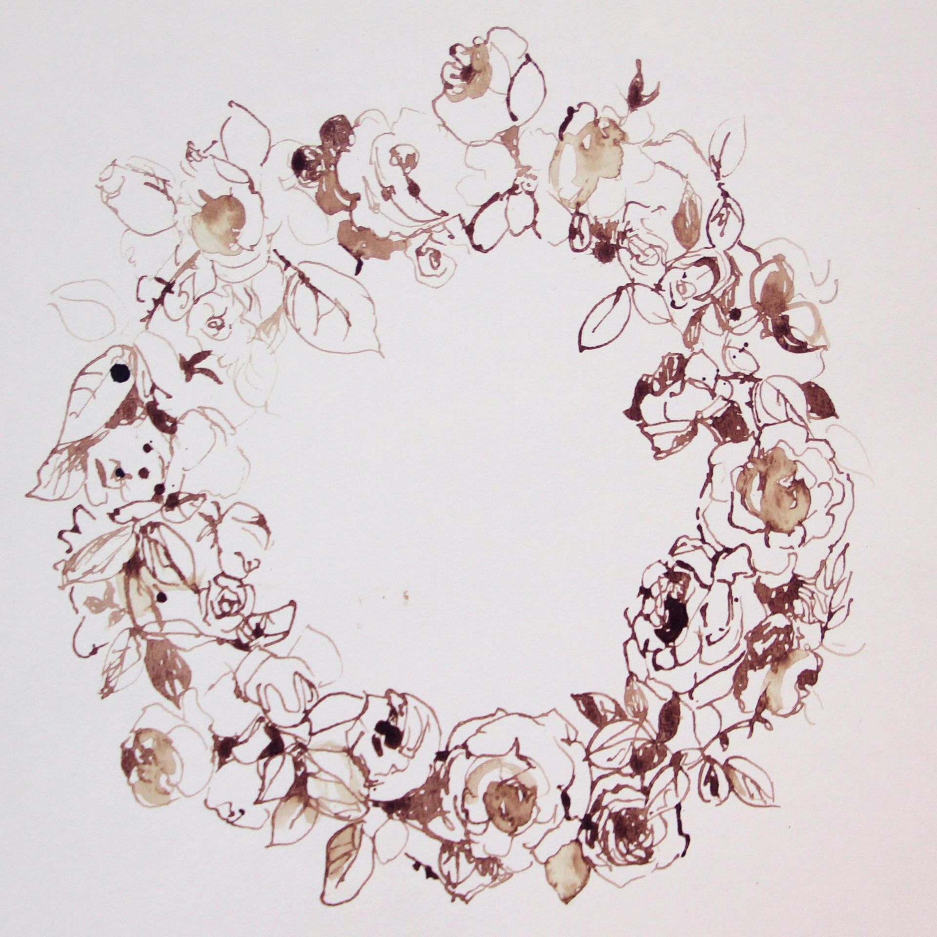 Sapir Gal ספיר גל, Flower Tiara Crown, drawing, Blood