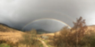 Rainbow on North Glenn Sannox Burn on the island of Arran Scotland