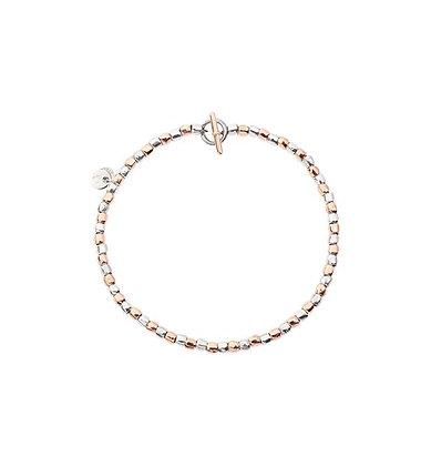 Bracciale mini granelli oro rosa e argento