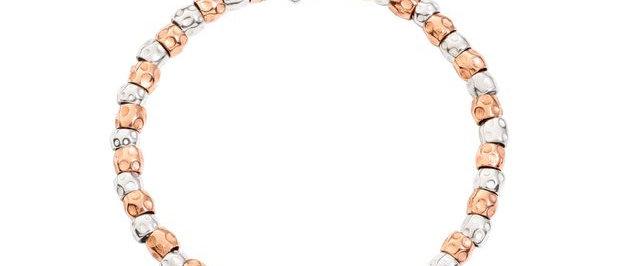 Bracciale granelli argento e oro rosa