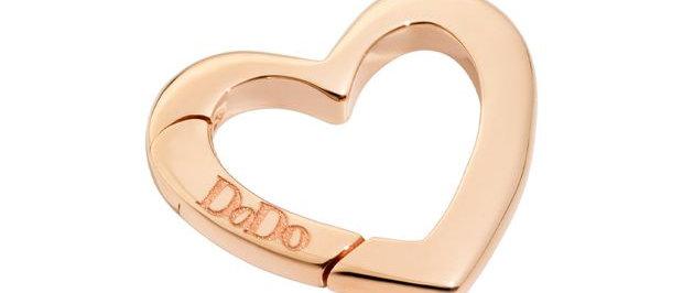 Moschettone cuore grande oro rosa