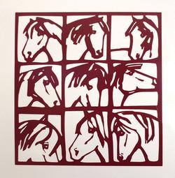 "Walltatoo ""neun Pferde"" rot"