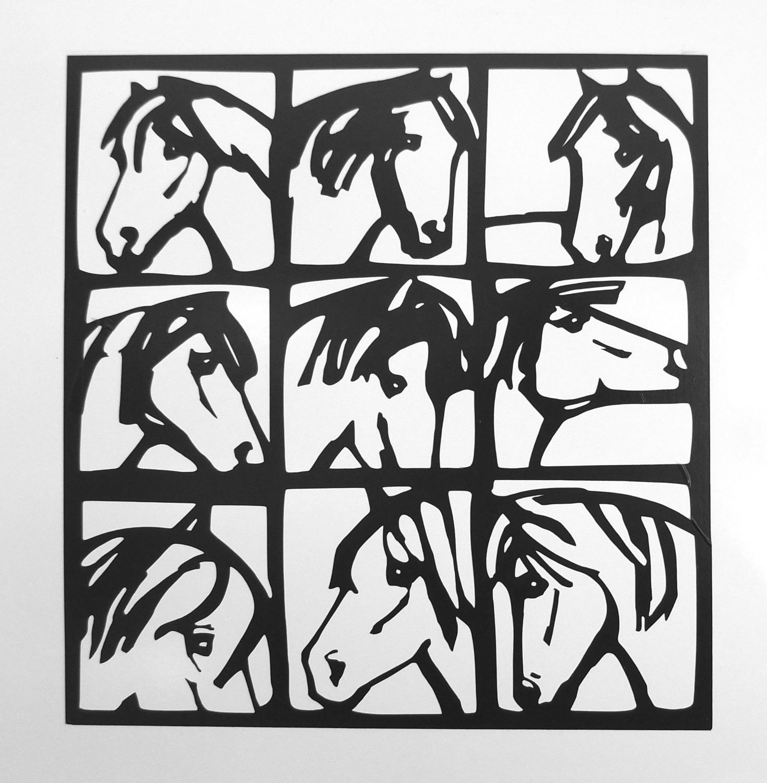"""Walltatoo """"neun Pferde"""" schwarz"""